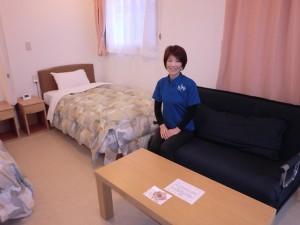 ▲客室は全部で63室、約165名の宿泊が可能。「エルファロも女川の町もアットホーム。お客様を温かく迎えようという雰囲気に満ちています」と佐々木里子(さとこ)さん。